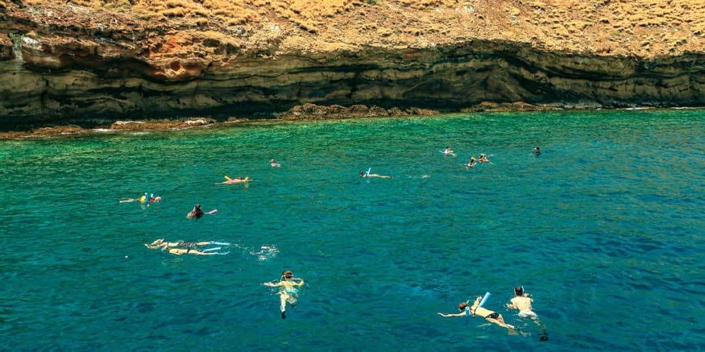 Snorkelers at Molokini Craterx