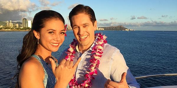 Star Of Honolulu Dinner Cruises Couple Visitors on Deck Shaka Vendor image for