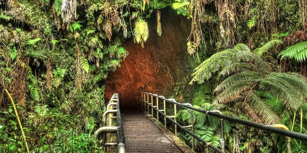 Thurston Lava Tube Entrance Volcanoes National Park shutterstock
