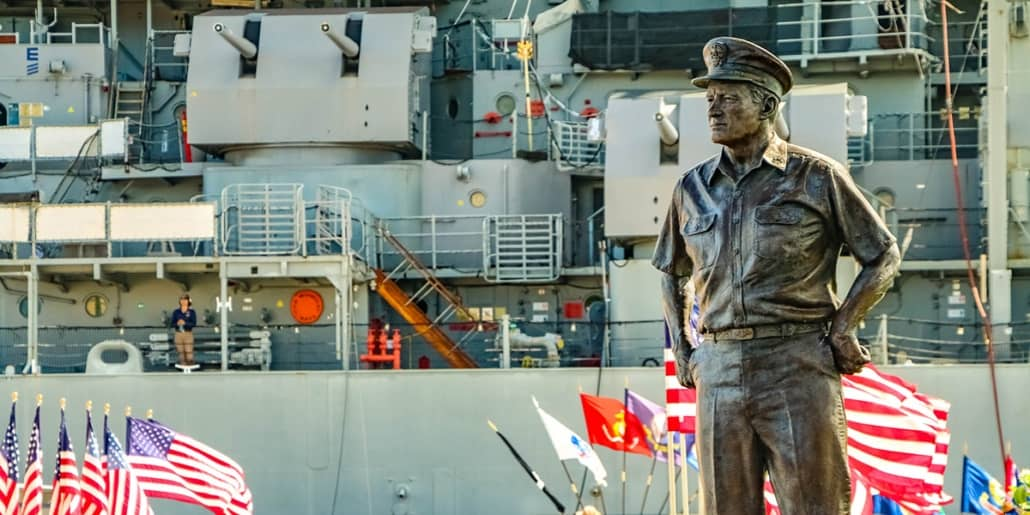 USS MIssouri Nimitz Statue at Entrance