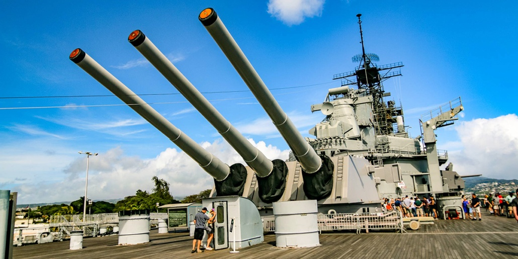 USS Missouri Deck Guns Visitors Entering Ship