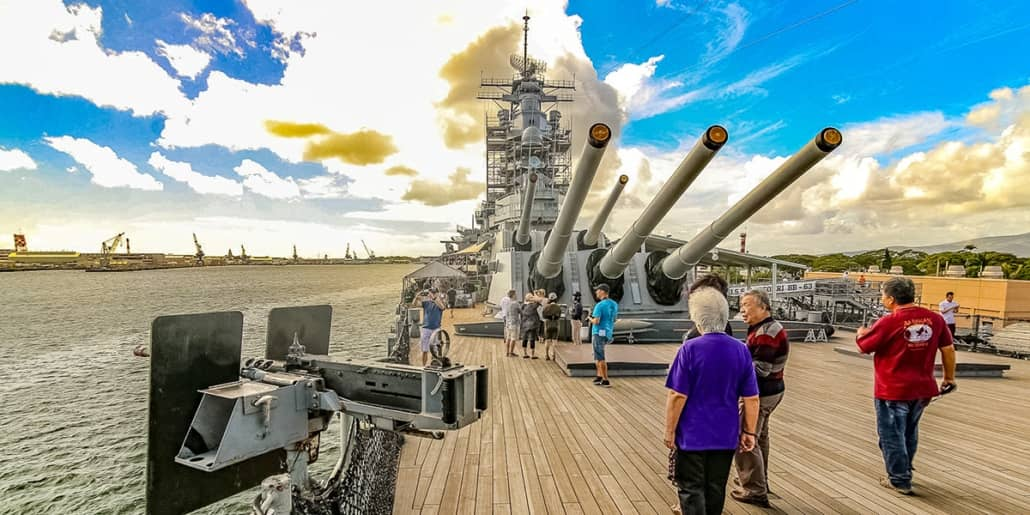 USS Missouri Deck Visitors cal Gun