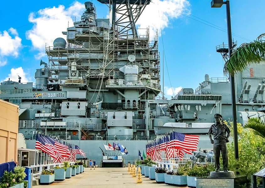 USS Missouri Entrance and Flags 1200x600