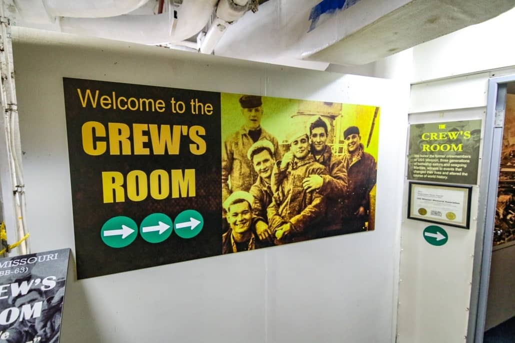 USS Missouri Interior Crews Room Sign