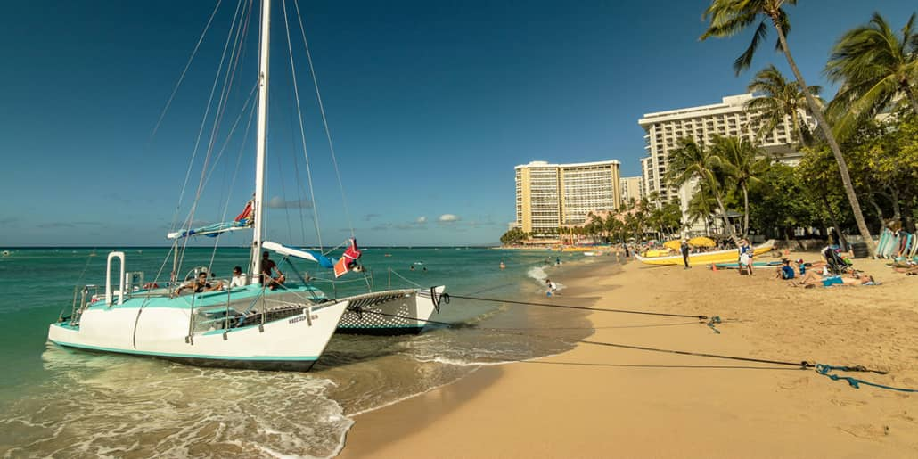 Waikiki Beach and Catamaran Boat