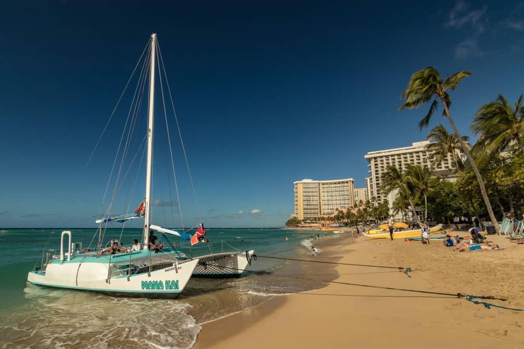 Waikiki Beach and Mana Kai Boat