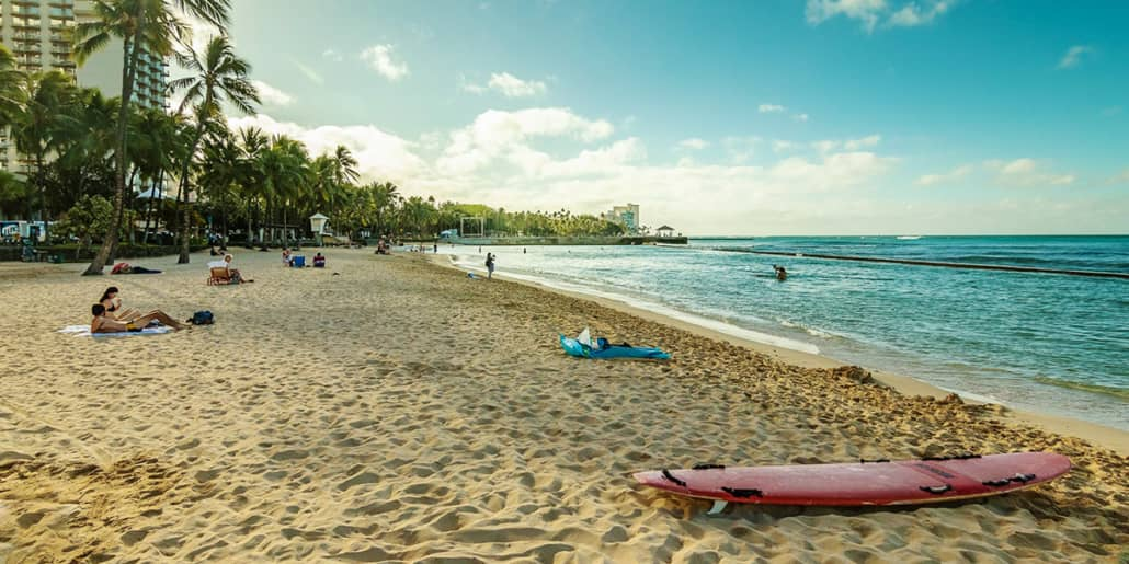 Waikiki Beach and Surf Board