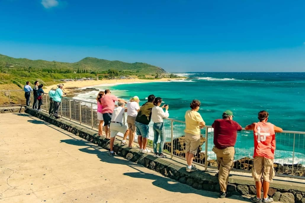 Windward Oahu Visitors at Overlook Sandy Beach Oahu