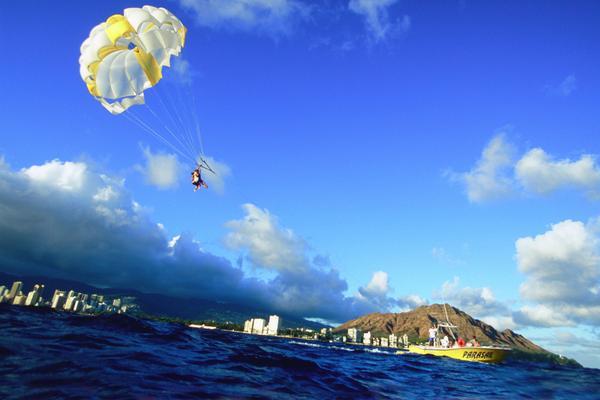 Parasail Honolulu in Background Oahu