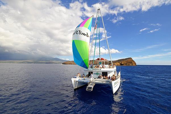 Sailing Catamaran at Molokini Maui