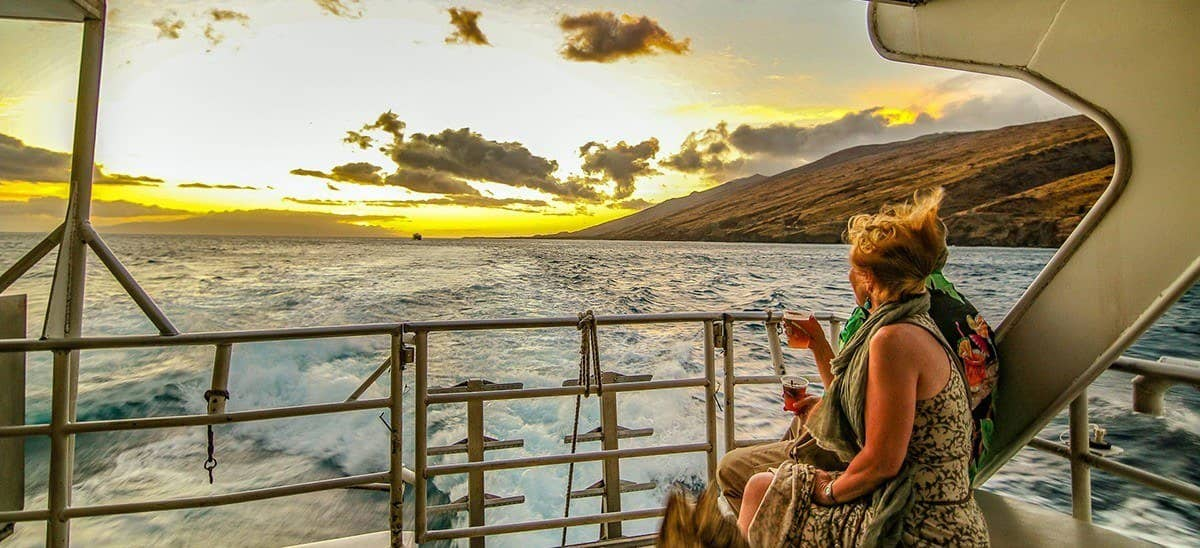 Sunset Cruise Couple Boat and Drinks Sunset Dinner Cruise Visitor Couple Maui Hawaii
