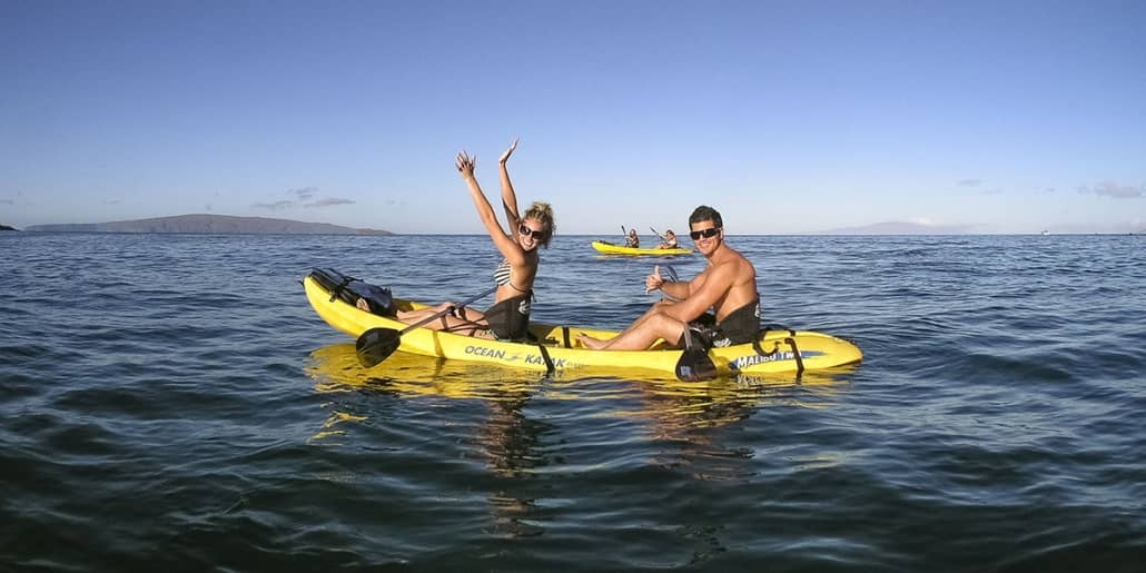 young couple Kayak  Person visitors Ocean