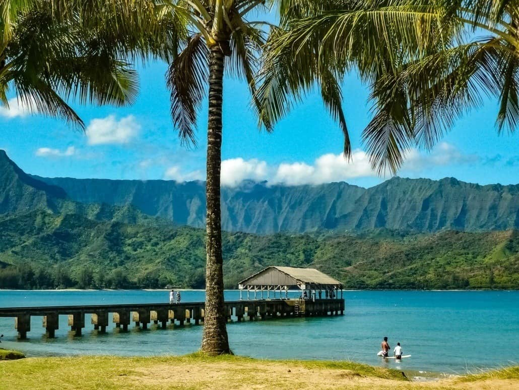 Hanalei Bay Dock House Kauai shutterstock