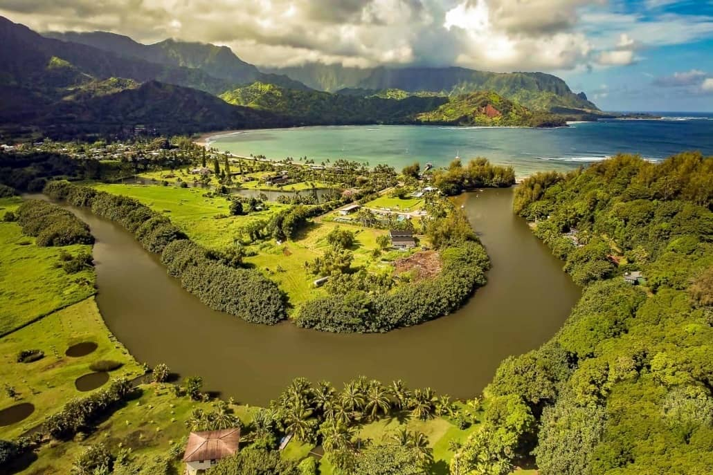 Hanalei Bay and River Areial Kauai shutterstock