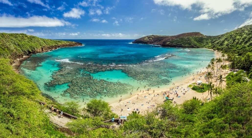 Hanauma Bay Visitors Beach Snorkel Scenic Oahu shutterstock