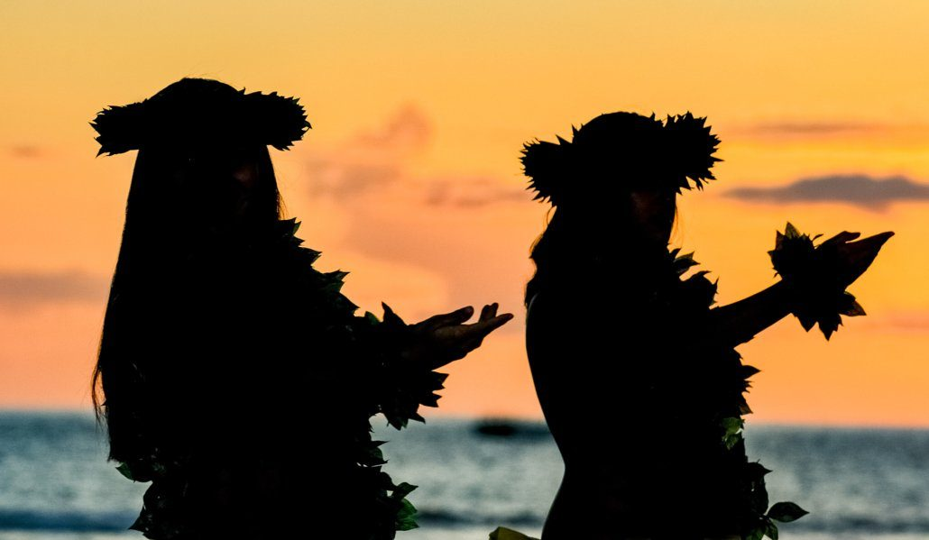 Hawaiian Hula Dancers Sunset Luau