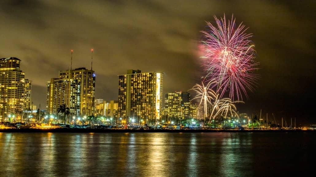 Honolulu Waikiki Fireworks Night Hilton Oahu shutterstock