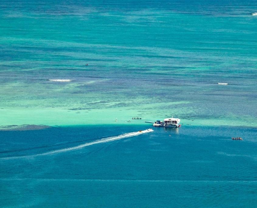Kaneohe Bay Aerial Snorkelers Reef shutterstock