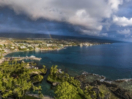 Kona Town Coast Rainbow Aerial shutterstock