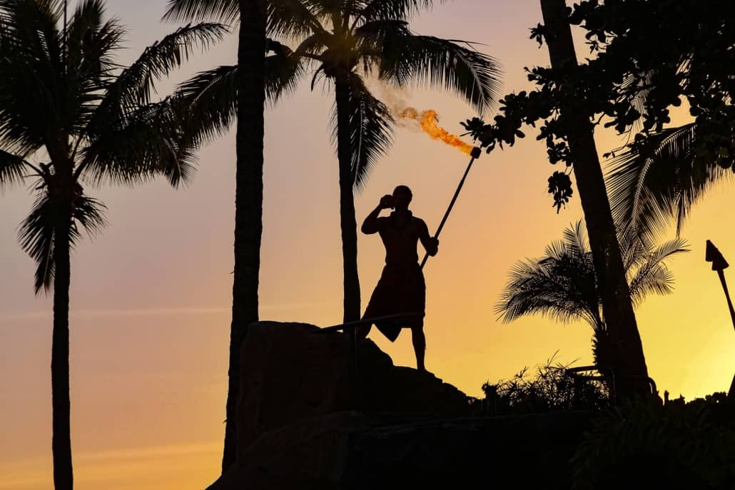 Luau Performer Sunset Tiki Torch and Conch