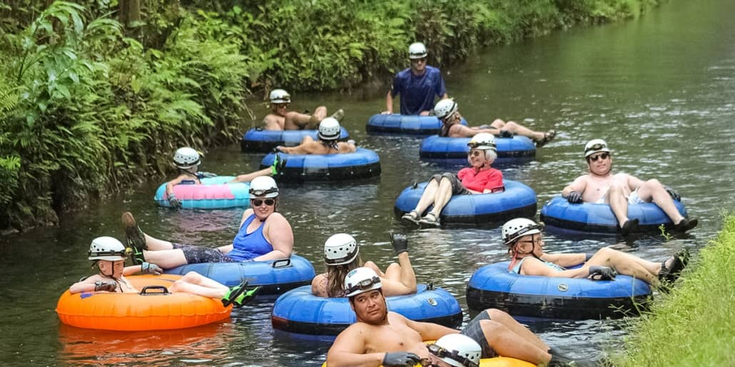 Mountain Tubing Group in Canal Kauai Back Country Photo
