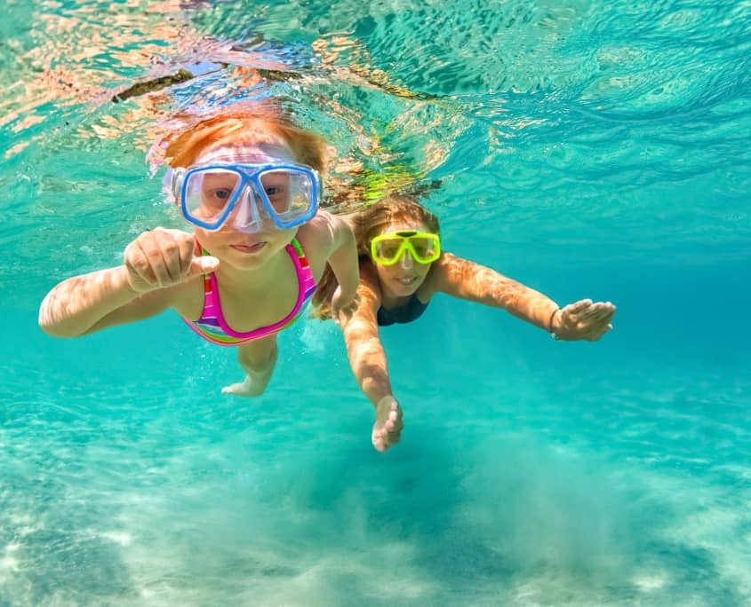 Snorkelers Kids Visitors Underwater Ocean Hawaii