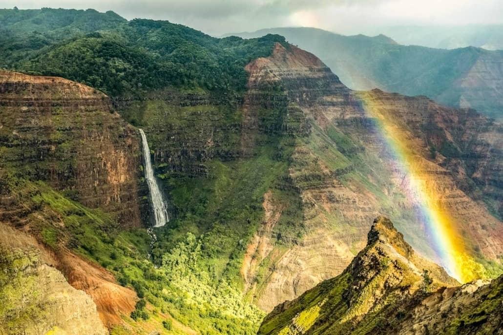Waimea Canyon Waterfall and Rainbow Kauai