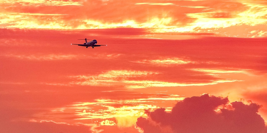 Airport Plane Landing Sunset Oahu