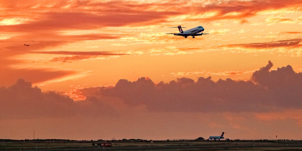 Airport Planes Runway Landing Sunset Oahu EX