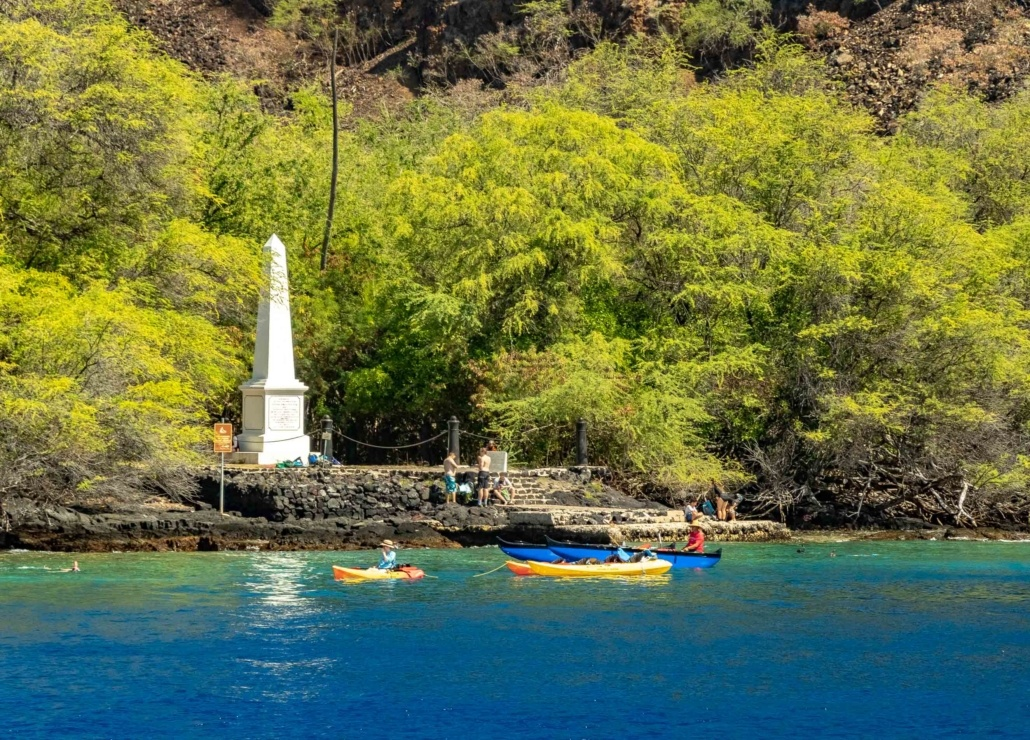 Capt Cook Monument Kayakers at Kealakekua Bay Big Island