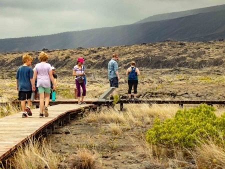 Hawaii Volcanoes National Park Petroglyphs Walkway Visitors Kids Big Island