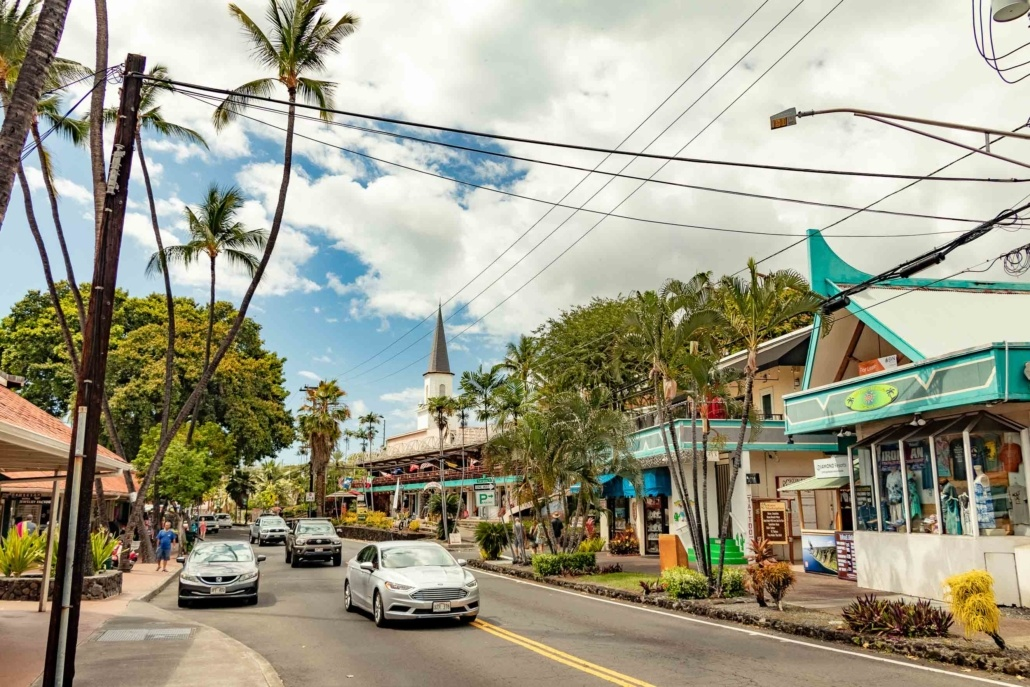 Kona Downtown Main Street and Church Big Island