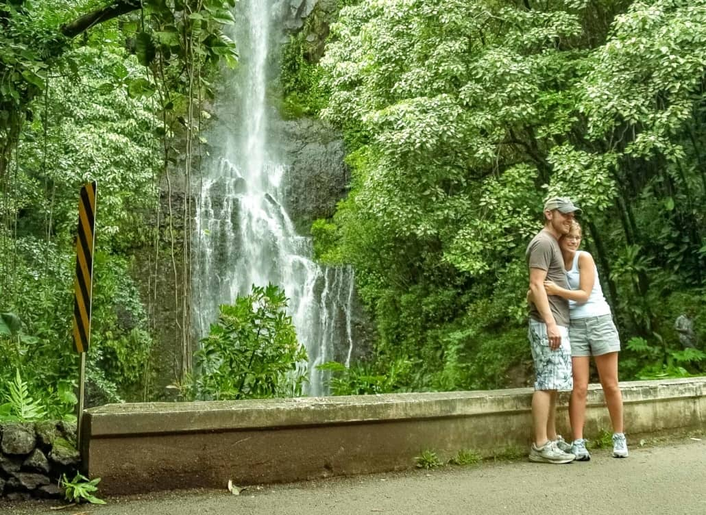 Waterfall Couple Visitors Road to Hana Maui