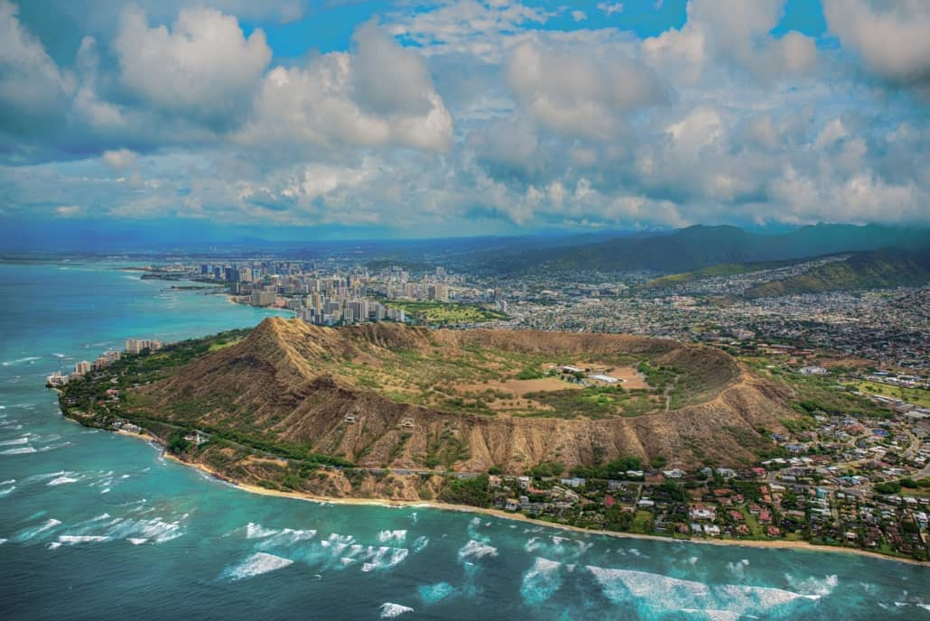 Diamond Head Crater Oahu Full City View