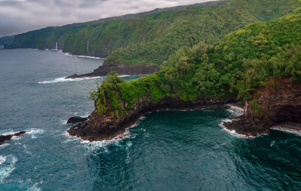 View of Hawaii Coast from Helicopter