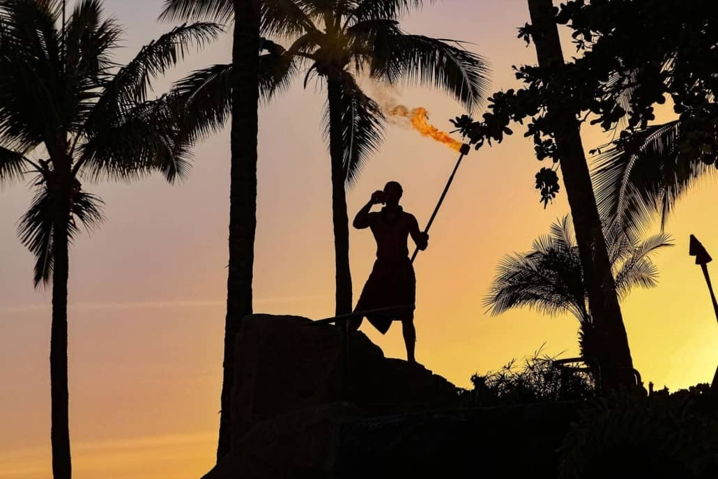 Luau Performer Sunset Torch and Conch