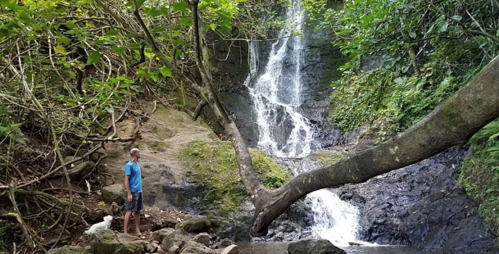 kooloau waterfall hike man
