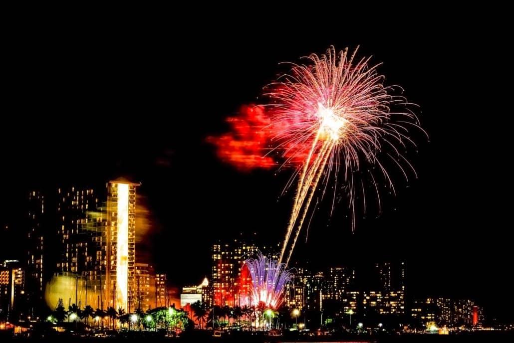 Honolulu Fireworks Hilton Hotel Oahu