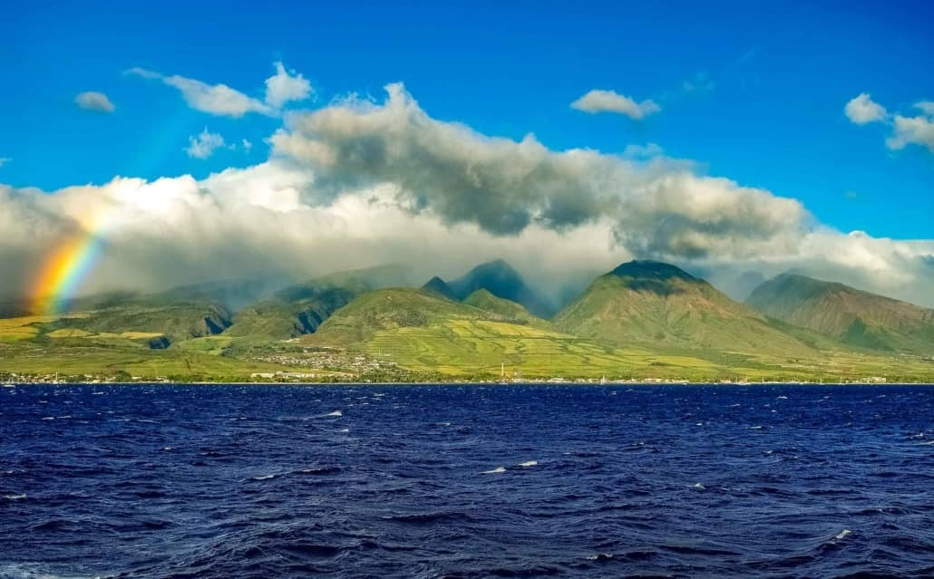 West Maui Mountains and Lahiana Rainbow from Boat Maui