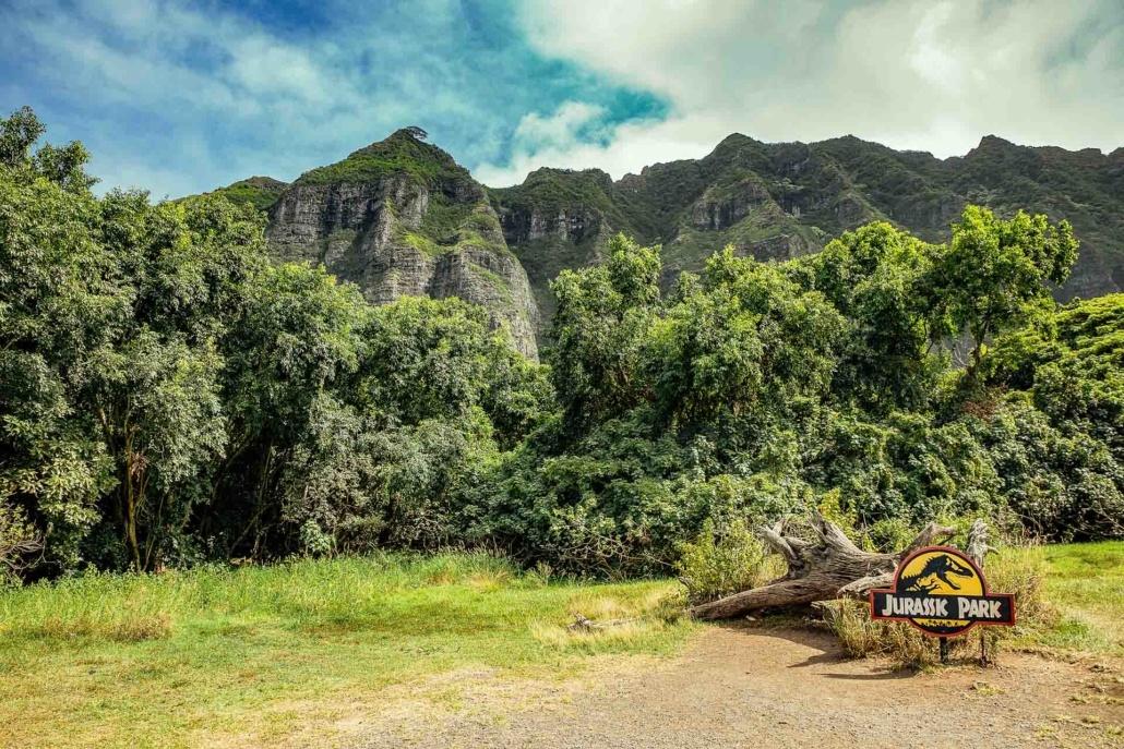 Kualoa Ranch Jurasic Park Valley Sign Oahu shutterstock