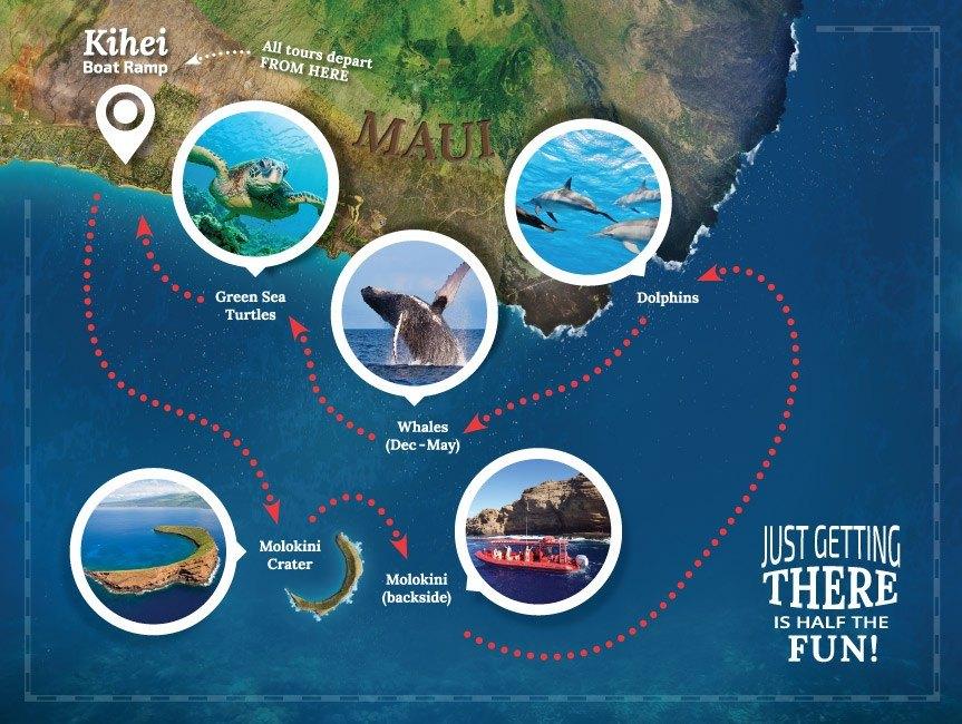Molokini Snorkel Tour Map