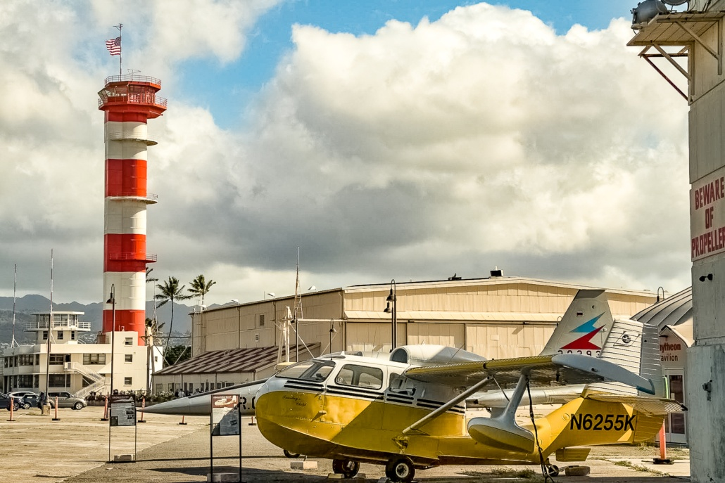 Pearl Harbor Aviation Museum Control Tower and Float Plane Exterior