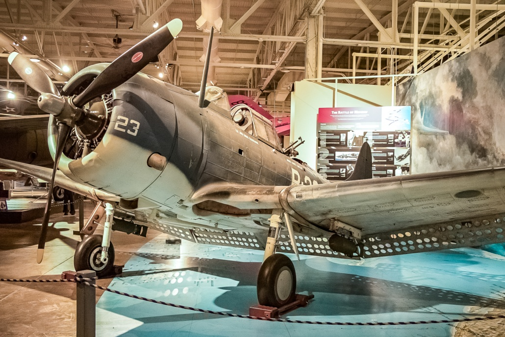 Pearl Harbor Aviation Museum Dauntless Fighter Bomber Plane Exhibit