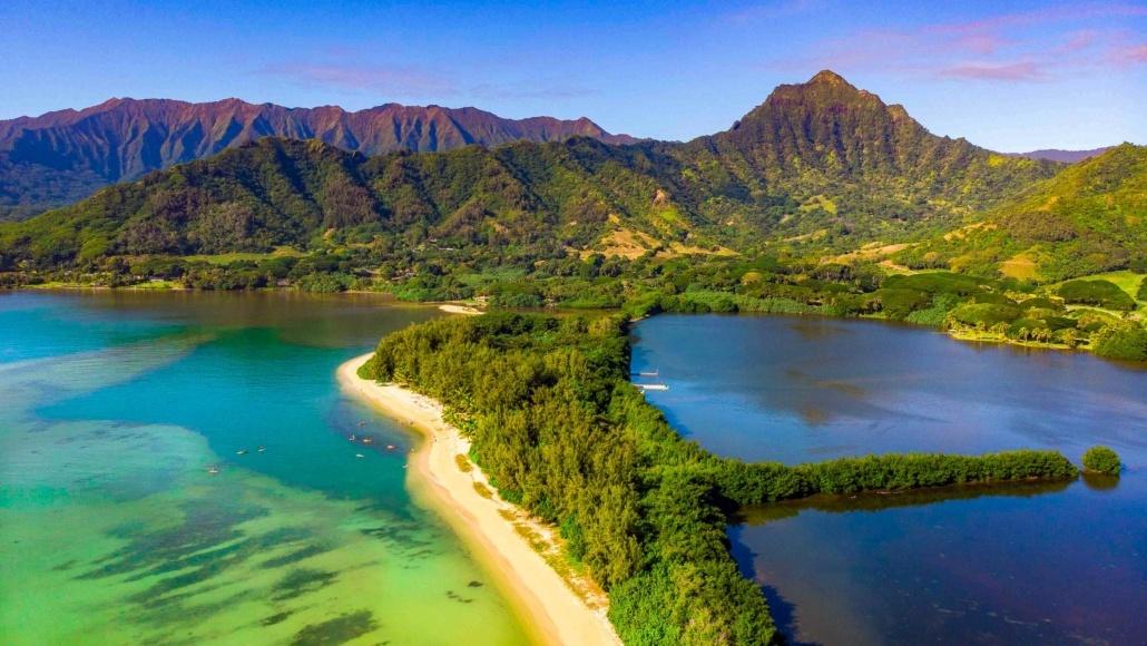 Secret Island Beach and Fishpond Aireal Kualoa Ranch Oahu shutterstock