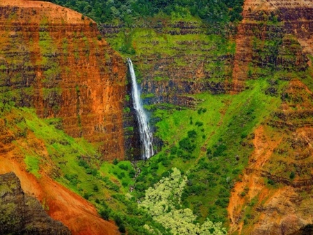 Waimea Canyon Waterfall Detail Kauai shutterstock