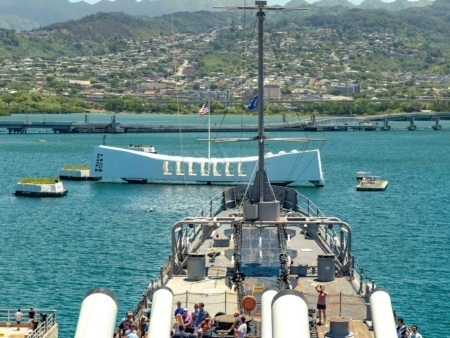 Arizona Memorial view from USS Missouri Bridge Pearl Harbor Oahu