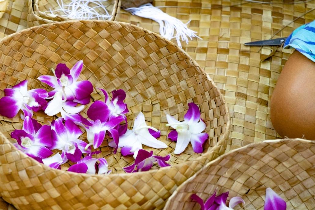 Luau Guest Activities Lei Making Flower Basket