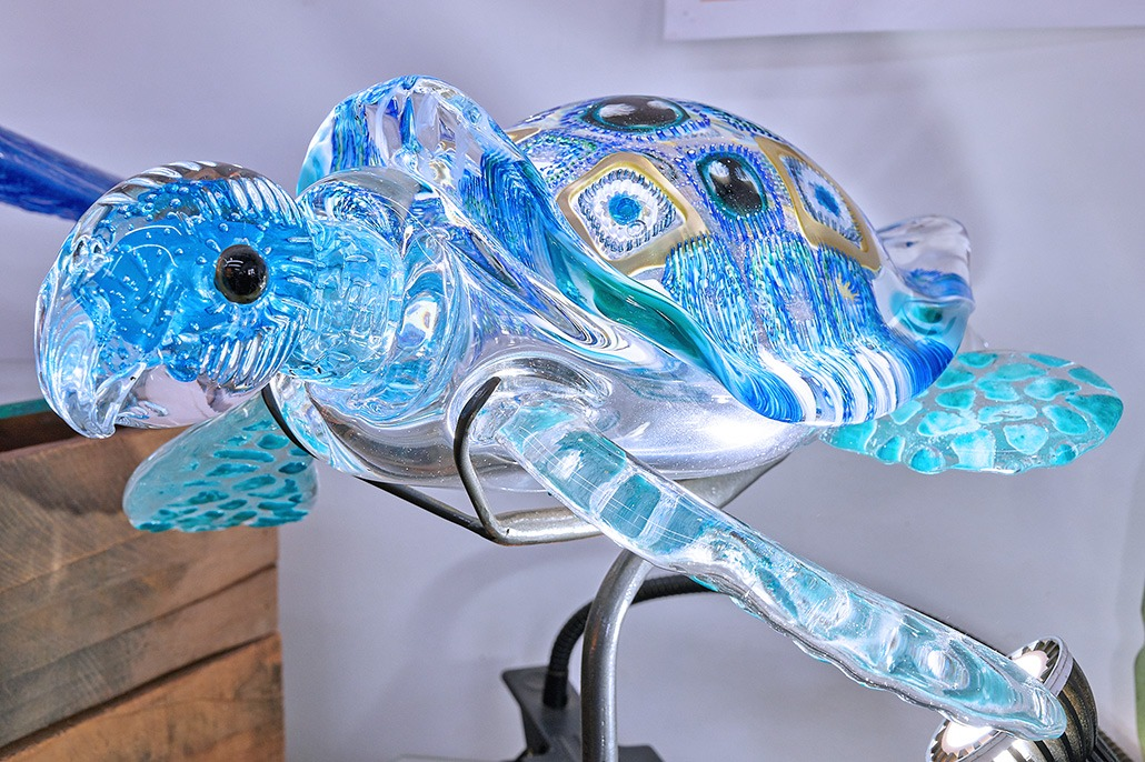 Glass Turtle With LED Lighting