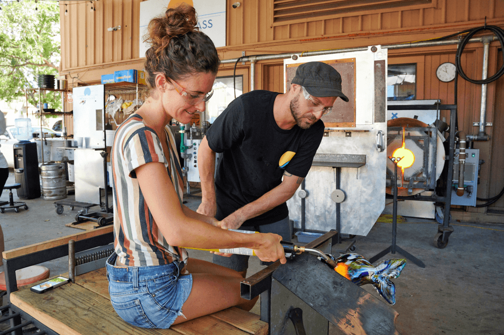 Woman Glass Blowing Lessons Maui