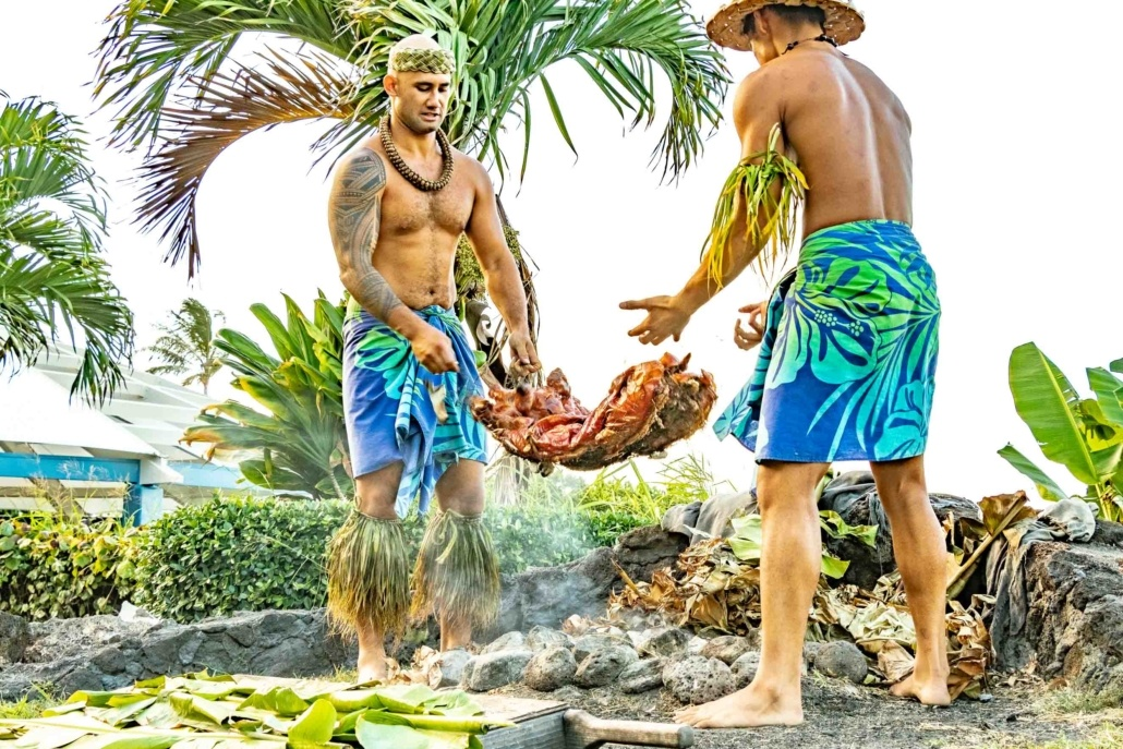 Ta Moana Luau Imu Oven Pig Removal Performers Oahu